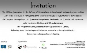Invitation to the European Heritage Days in Aljezur
